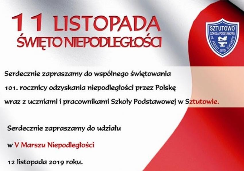 Sztutowo. Zaproszenie na obchody 101. rocznicy odzyskania niepodległości przez Polskę.