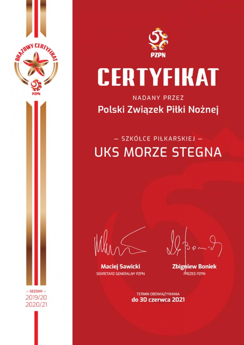 UKS Morze z brązowym certyfikatem PZPN!