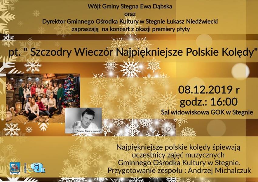 """Stegna. Zaproszenie na koncert """"Szczodry Wieczór Najpiękniejsze Polskie Kolędy"""""""
