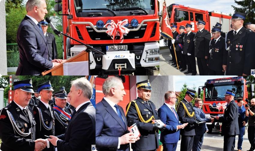 Wojewoda Pomorski przekazał kluczyki do nowego wozu ratowniczo - gaśniczego dla strażaków z Ostaszewa.