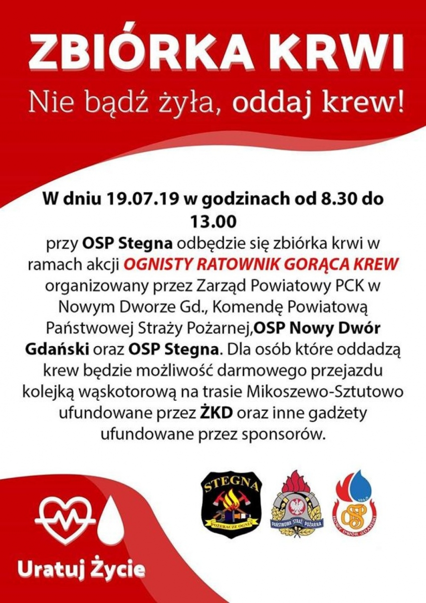 Krew dla strażaka. Zbiórka w OSP Stegna - 19.07.2019