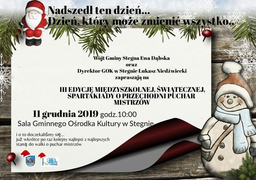 Do walki o puchar staną wszystkie szkoły z gminy Stegna. III edycja międzyszkolnej, świątecznej spartakiady.