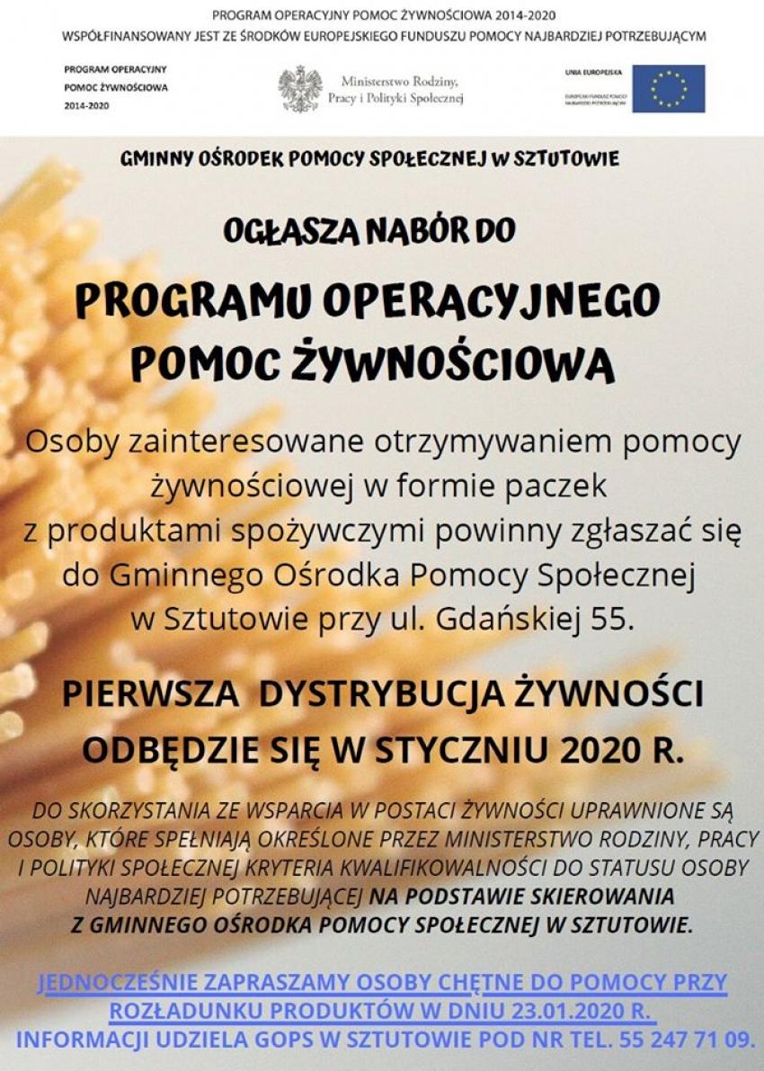 Informacja Gminnego Ośrodka Pomocy Społecznej w Sztutowie.